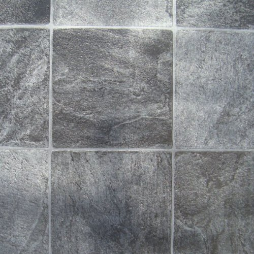 Granite Alu Black Tile Roma Vinyl Flooring, 2.6Mm Thick, 3M Wide 2M Long