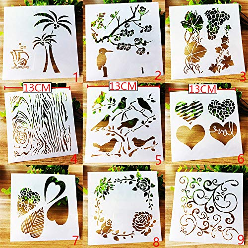 BLUGUL Journal Zubehör Schablonen, Zeichenschablonen Muster, für DIY Geschenkkarten, Fotoalbum, Kunst-Projekte, Papier Karte Deko, Herz Blume Pflanze Vogel, Natur B 9 Stück