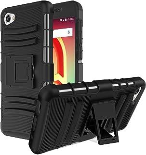 Alcatel A50 Case,Alcatel Pulsemix/Alcatel Crave/Alcatel A5 Case with [Built-in Kickstand],Heavy Duty Reinforced Corner Dual Layer PC+TPU Shockproof Non-Slip Protective Case Cover-Black