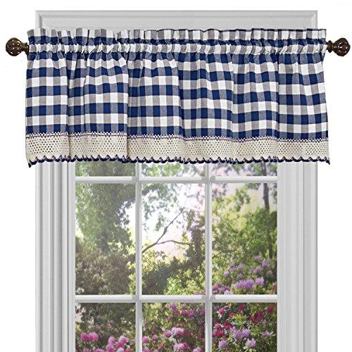 "Woven Trends Farmhouse Curtains Kitchen Décor, Buffalo Plaid Valance, Classic Country Plaid Gingham Checkered Design, Farmhouse Décor, Window Curtain Treatments (Navy, 58"" W x 14"" H Valance)"