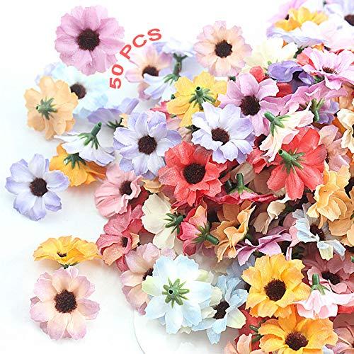 Gefälschte Blumen 50 Stück Hortensien Künstliche Blumen Seidenblumen In Loser Chrysantheme Kunstblumen Köpfe Seidenblumen Hochzeit Dekoration DIY Girlande Geschenkbox Scrapbooking Handwerk Multicolor