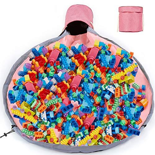 Enfants Sac de Rangement Jouet,Organisateur Rangement pour Lego Tapis de Jeu Pliable sacs de Blocs de Construction Portable 150cm Organisateur Rapide Grande Capacité (Poudre)