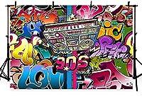 新しい写真の背景音楽ヒップホップ90年代をテーマにしたグラフィティラジオパーティーの装飾写真スタジオブースの背景7x5ft
