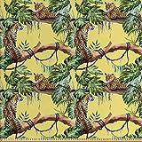 ABAKUHAUS Aquarell Stoff als Meterware, Leoparden im