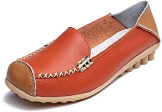 Flat Shoes Women Leather Ballerinas Round Toe Bowtie Slip on Ballet Flats Maternity Loafers Moccasins Ladies Casual Flats,Orange,38