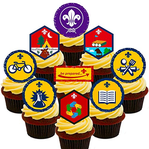 Made4You Beavers Badges Party Pack, Edible Cake Decorations - Stand-up Wafer Cupcake Toppers