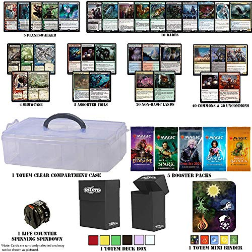 Totem World Throne of Eldraine Deck Builder Toolkit Holiday Box: Showcase, Planeswalker, Booster Packs, Rares, Basic Lands, Uncommon Common Foil MTG Cards + Compartment Case Deck Box Mini Binder Gift