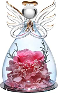 ANLUNOB Forever Pink Rose in Angel Glass Figurines Artificial Flower in A Glass Dome Eternal Handmade Flowers Galaxy Rose ...