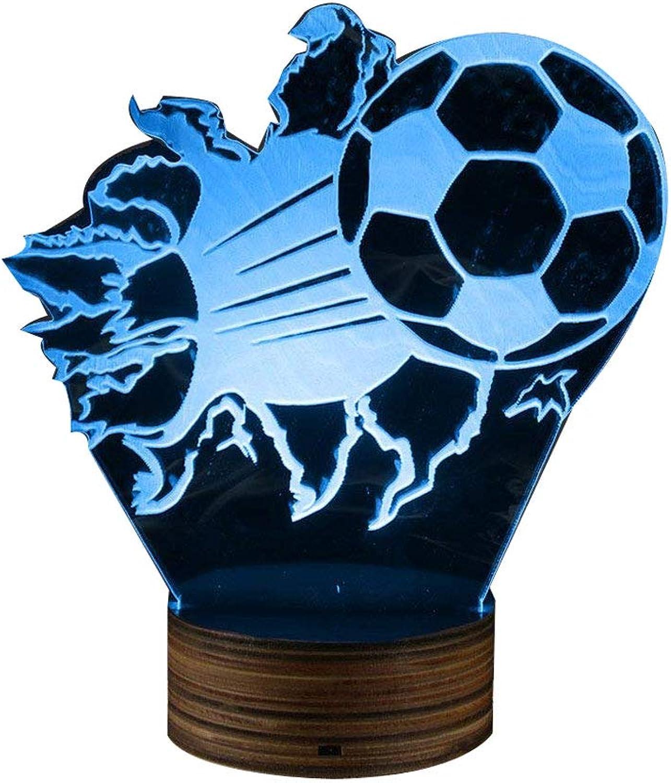 ZHJXQD 3D dekoratives Nachtlicht 3D Fuball Nachtlampe, platzen Fuball 3D optische Illusion LED Lichter Fuball Fans Glowing LED Licht Sport Home dekorative Beleuchtung Emotionales Nachtlicht
