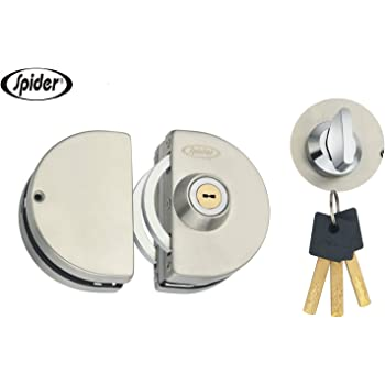 Spider Stainless Steel Glass Door Semi Circle Lock with SS Finish, One Side Knob & One Side Key (GDL01R)