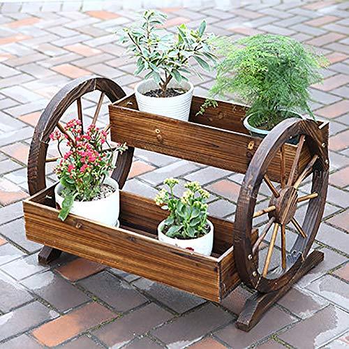 HIMFL Maceta de Carretilla de Madera para Plantas, Interior/Exterior jardín, Ventana