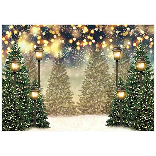 Allenjoy 7x5ft Winter Christmas Photography Backdrop Glitter Spot Xmas Green Pine Trees Snowy Wonderland Background for Kids Newborn Baby Shower Birthday Party Decor Banner Portrait Photo Booth Props
