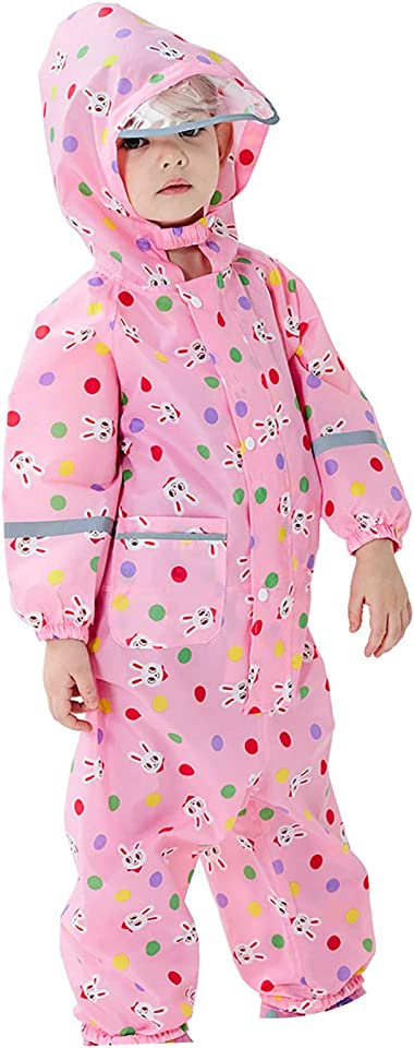 Unisex Kids Carton Waterproof Hood Jacket Outdoor Hooded Jacket Wind and Waterproof Raincoat for Girls Boys