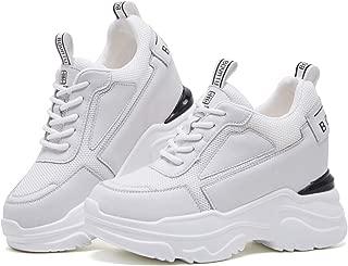BOYATU Leather Hidden Heel Wedge Sneakers for Women Casual Walking Trainers Shoes
