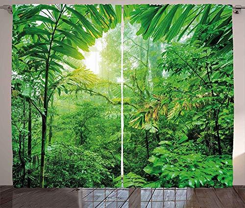 3D Cortinas Opacas,Diseño De Impresión Digital Cortinas Verticales Distintivas, Verde Rainforest Impresión Simple Elegante Cortinas De Ojal Aislamiento Transpirable, Para La Sala De Estar Dormitor