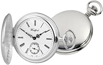 Woodford Mens Albert Full Hunter Swiss Pocket Watch - Silver