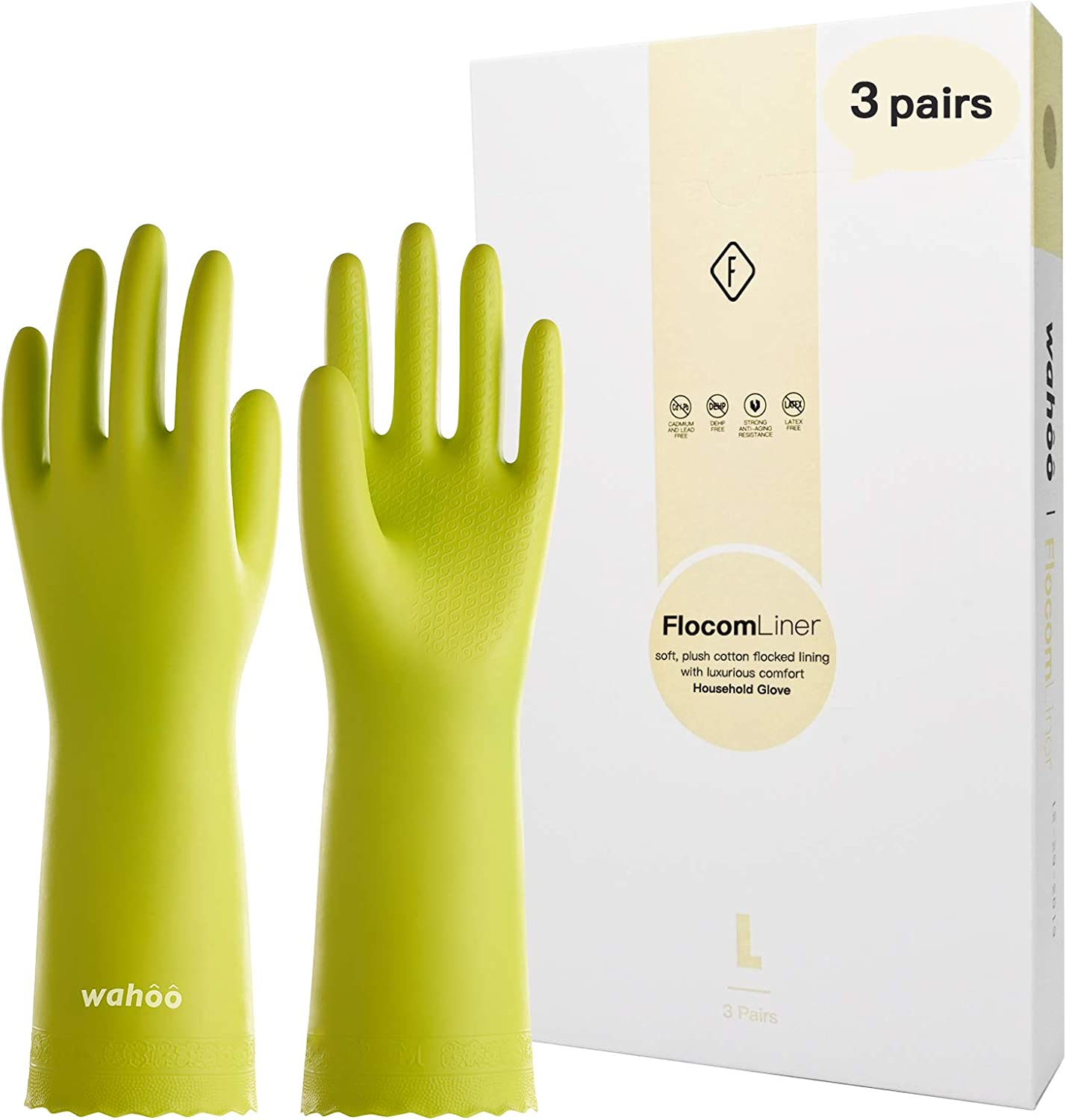 Raleigh Mall LANON Wahoo 3 Pairs PVC Household Reusable Cleaning Gloves Ranking TOP19 Dish