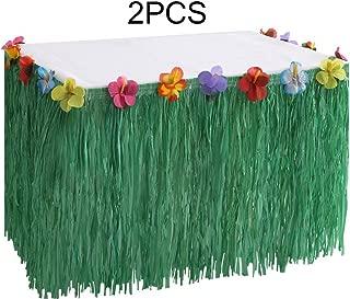 Moon Boat Hawaiian Luau Grass Table Skirt Decorations Hula - Hibiscus Tropical Pool Birthday Party Supplies (2 PCS)