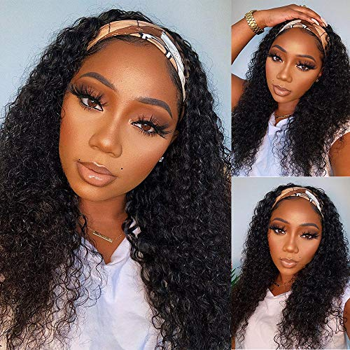 18 Inch Headband Wig Human Hair Curly Headband Wig Glueless None Lace Front Human Hair Wig With Headband Attached Headband Wig Curly Kinky Curly Headband Wig Human Hair for Black Women.