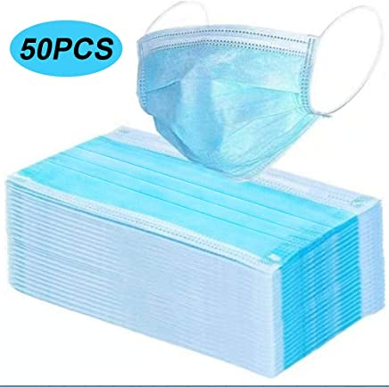 4-Ply Disposable Masks, Ear Loop Surgical and Air Pollution Face Mask, Waterproof Breathable Fabric for Men Women Comfortable to Wear (Pack of 50)