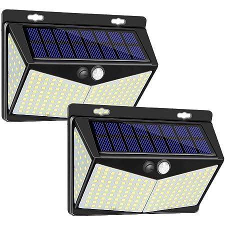 Luz Solar de Exterior, 2 Paquetes Luces Solares 208 LED/ 3 Modos Lámpara Solar Exterior IP65 Impermeable Gran Ángulo 270º Solar Luz LED Iluminación Exterior con Sensor de Movimiento para Jardín, Patio, Terraza, Camino