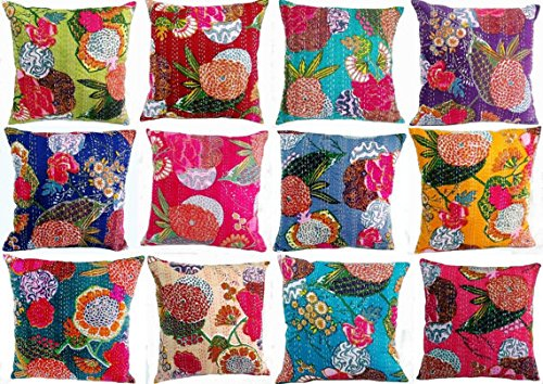 Third Eye Export 18X18 Indian Ethnic Bohemian Set of 5 Decorative Colorful Cotton Square for Sofa Set Home Decorative Fruit Design Boho Throw Pillow Case Kantha Cushion Cover