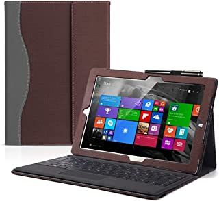 Compatible with Surface Pro X 13 Inch Case PU Leather Tablet Case Flip Stand Cover with Hand Strap and Pen Holder Coffee