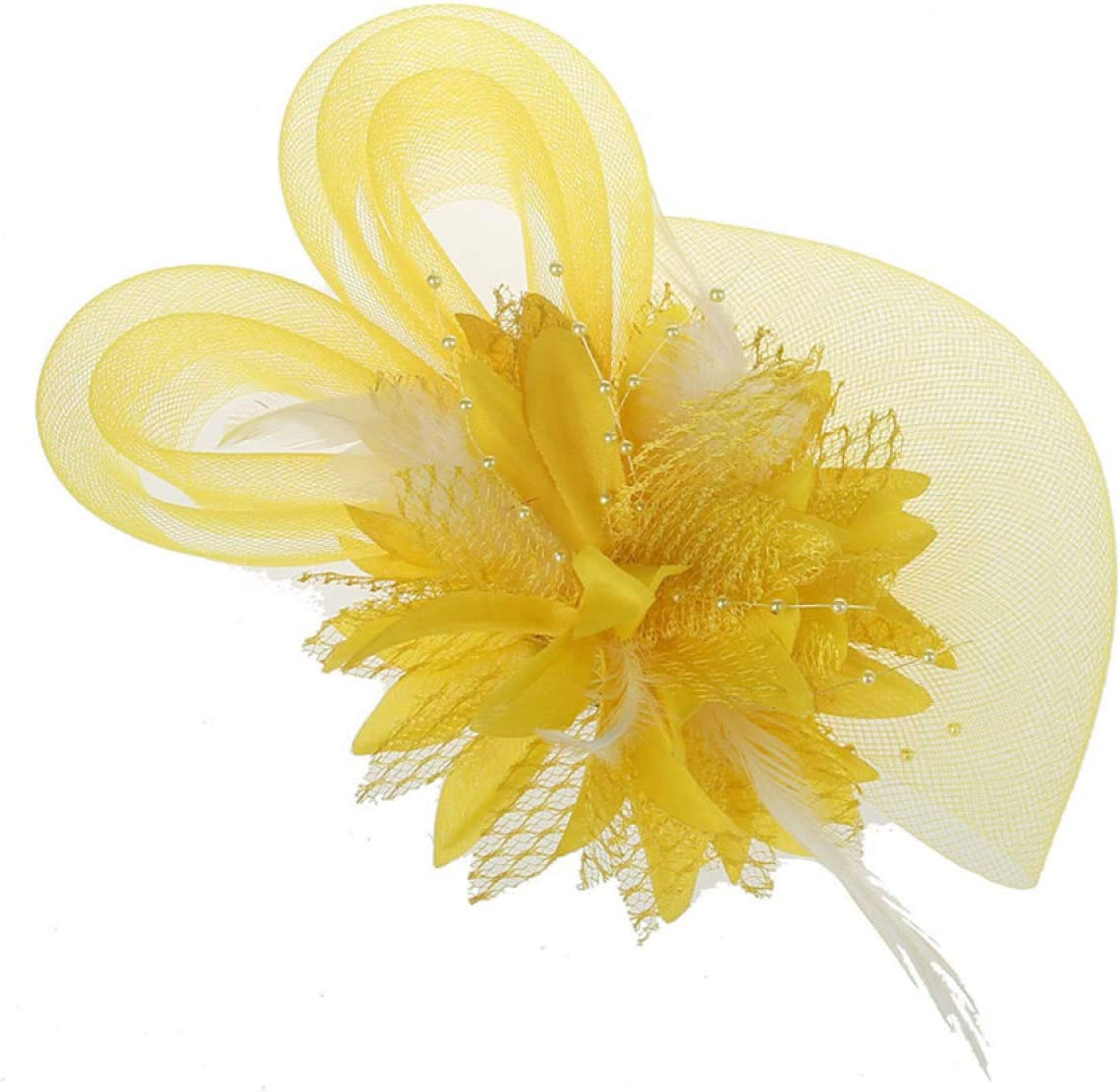 MELLOW SHOP Trendy Flower Mesh Lace Feather Fascinators Heart Hair Clips Hairpin for Women