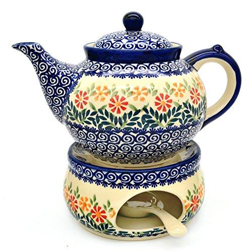 Bunzlauer Keramik Teekanne mit Stövchen (Dekor Adelheid)