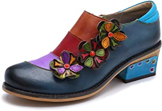 Women Leather Block Heel Pumps Oxford Dress Shoes Exotic Vintage Bohemian Mary Jane Shoes