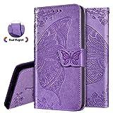 IMEIKONST Y9 Prime 2019 Funda Elegant Embossed Card Holder Cartera Soporte Bookstyle PU Cuero Magnetic Closure Flip Kickstand Funda para Huawei P Smart Z/Honor 9X Butterfly Lavender SD