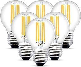 Led-gloeilamp E27, 4W LED Edison G45 470 lumen, vervangt 40W gloeidraad lamp, 2700K warmwit gloeilamp, 6-pack [energieklas...