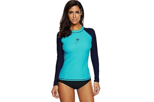 343fa45e13cb ATTRACO Women s Long-Sleeve Rashguard UPF 50+ Swimwear Rash Guard Athletic  Tops