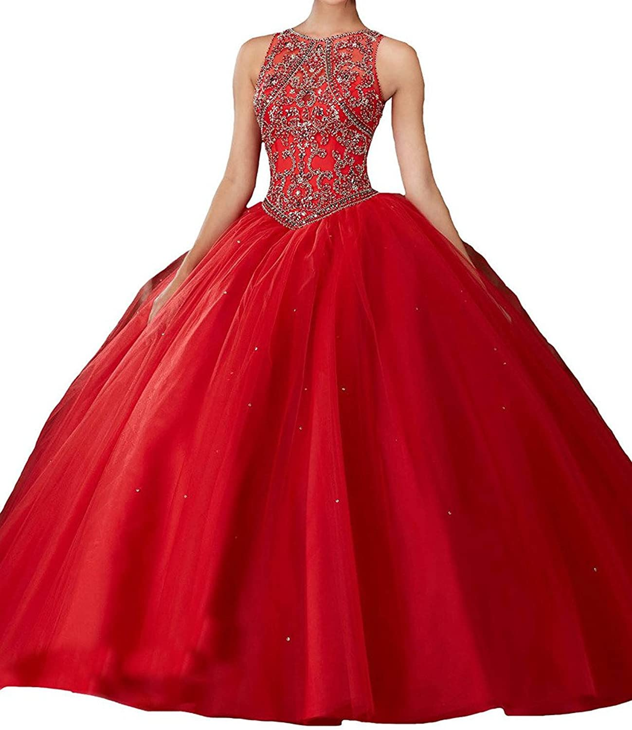 Engerla Women's Sheer Scoop Neck Crystal Hollow Back Quinceanera Prom Ball Gown