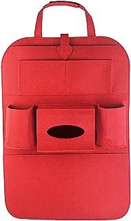 Vosarea Auto Rückenlehnenschutz Trittschutz Auto Rücksitz Organizer für Baby Kinder Autositzschoner Autositz Aufbewahrungstasche Rückenschutz (Rot)