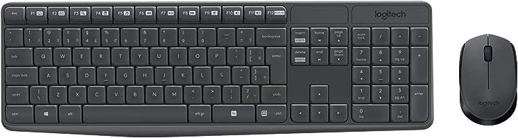 Combo Teclado e Mouse sem fio Logitech MK235 com Conexão USB, Pilhas Inclusas e Layout ABNT2
