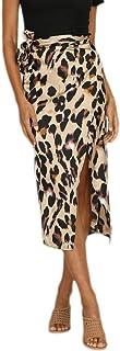 CICIYONER Damen Abend Party Rock Mode Frauen Sexy England Leopard gedruckt Split Bandage