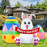 Joiedomi Easter Inflatable Decoration 6 FT Inflatable Easter Bunny & Eggs Inflatable with Build-in LEDs Blow Up for Easter, Party Indoor, Outdoor, Yard, Garden, Lawn Décor.