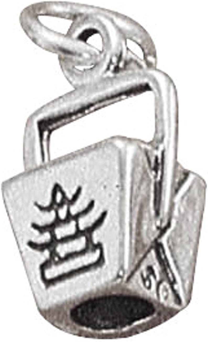 Sterling Silver 3D Chinese Takeout Food To Go Pail Dangle Charm Bead For Bead Charm Bracelet
