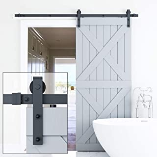 ELICIT 6.6FT Single Barn Door Hardware, Classic Design Standard Track with Upgraded Nylon Bearings, for 36in-40in Wide Sliding DoorPanel, Easy Installation, [Basic J], Black