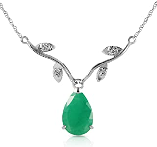 Galaxy Gold 1.02 ct 14k White Gold Drop Necklace with Genuine Diamonds & Pear-Shaped Natural Emerald 4273W (22)
