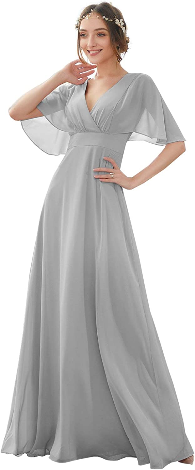 POMUYOO Women's V Neck A Line with famous Bridesmaid Ranking TOP11 Dresses Sleeves Lo