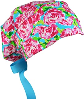 Womens Surgical Scrub Hat Adjustable Medium to Large with Ribbon Ties (Blush Roses)