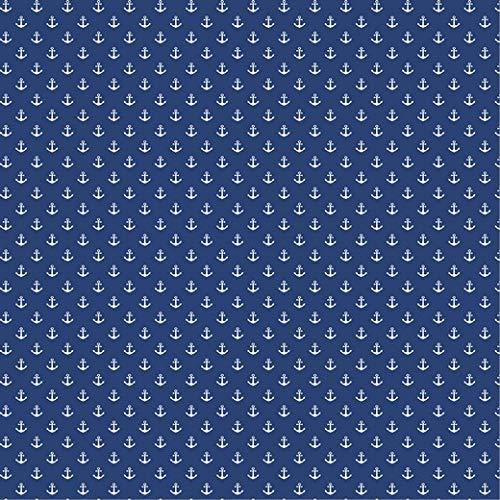 babrause ® Baumwollstoff Anker Mini Royal Blau Webware Meterware Popeline OEKOTEX 150cm breit - Ab 0,5 Meter