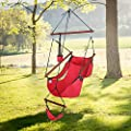 ONCLOUD Upgraded Unique Hammock Hanging Sky Chair, Air Deluxe Swing Seat with Rope Through The Bars Safer Relax with Fuller Pillow and Drink Holder Solid Wood Indoor/Outdoor Patio Yard 250LBS (Red)