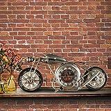 MFFACAI G'z Wanduhr Jahrgang Europa Motorrad Dekoration Wohnzimmer Schlafzimmer Metall Eiserne Kunst 13 * 15 cm Uhr, Brown