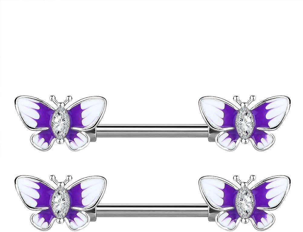 OUFER Nipple Barbell Piercing Jewelry 2PCS 316L Surgical Steel Butterfly with Epoxy Nipplerings Body Piercing Jewelry