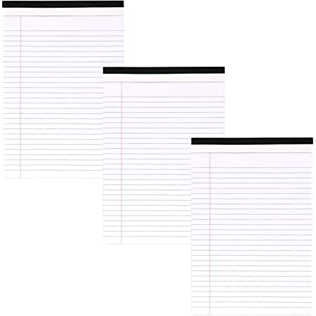 """Emraw White Micro Perforated Edge Legal Ruled Universal 50 Sheets Letter Size Writing Pad- 50 Ct. 8.5"""" X 11.75"""" (Pack of 3)"""