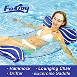 Fostoy Water Hammock, Pool Float Chair 4-in-1 Multi-Purpose Inflatable Pool Floats Portable Water Lounge for Adults and Kids