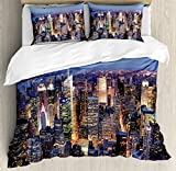 Ambesonne New York Duvet Cover Set, Aerial View of NYC Full of Skyscrapers Manhattan Times Square Famous Cityscape Panorama, Decorative 3 Piece Bedding Set with 2 Pillow Shams, Queen Size, Sky Blue